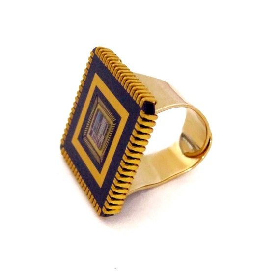 Upcycled Computer Chip Ring /// Gold plated /// Handmade /// Adjustable /// Unique /// Repurposed /// Original