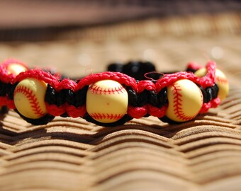 Red and Black Softball Bracelet  - More cord colors and sports theme options available
