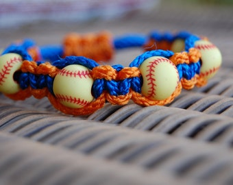 Royal Blue and Orange Softball Bracelet  - More cord colors and sports theme options available