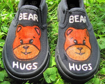Boy's Hand Painted Teddy Bear Slip On Shoes In Size 8 Toddler ,  Infant, Toddler, & Children's Black Canvas Slip On Shoes With Teddy Bears!
