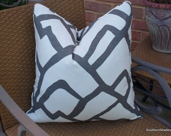 BOTH SIDES - ONE Schumacher Zimba Charcoal Pillow Cover with Seam Cording