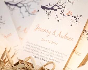 DEPOSIT:  Wedding Fan Program Love Birds Branch Wedding Favor - Peach Chocolate Brown Outdoor Ceremony Program - Rustic Wedding Paddle Fan