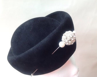 Handmade Black velour toque hat lined with reinstone pin