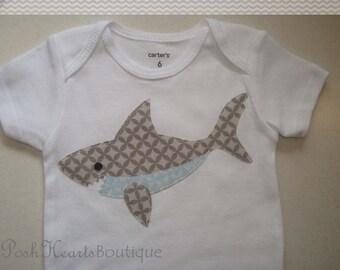 SHARK Appliqued Baby Onesie Bodysuit Custom Handmade Birthday Nautical Ocean Fish