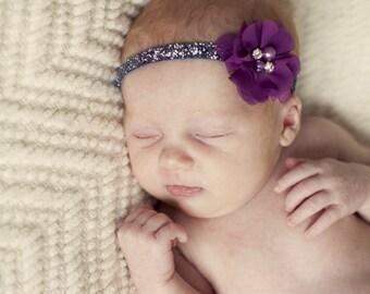 Plum Headband, Fall Headband, Plum Flower Headband, Purple Headband, plum birthday headband, plum flower girl headband, plum clip