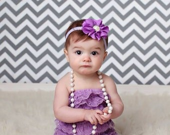 Purple Headband, Lavender Headband, purple baby headband, Purple Chevron Headband, Flower Girl Headband, Birthday Headband, Pearl Headband