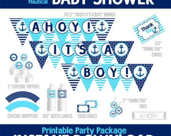 Navy and Blue Nautical Boy Baby Shower Package, Banner, Cupcake toppers and wraps, Thank You tags and cards, Food labels, ( PDN021 )