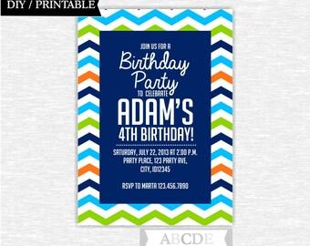 Chevron Navy, Lime Gree, Orange and Aqua Blue Birthday Party invitation DIY Printable ( PDSDCH002 )