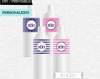 Personalized  Navy and Pink Bottle Wraps Nautical Party Decoration PRINTABLE DIY (PDN041)