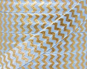 Bluebird and Gold Foil Metallic Chevron Fold Over Elastic - Elastic for Baby Headbands and Hair Ties - 5 Yards 5/8 inch Printed FOE