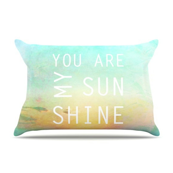 "Teal & Yellow Setting Sun ""You Are My Sunshine"" Art Pillow Case by Alison Coxon"
