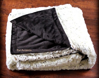 FUR ACCENTS Minky Cuddle Fur Throw Blanket / Reversible / Ivory Cream and Chocolate Brown