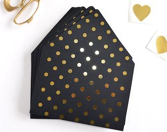 Gold envelope liner, black and gold envelope liner, envelope insert, black and gold invitation, gold wedding invitation, polkadot, gold foil