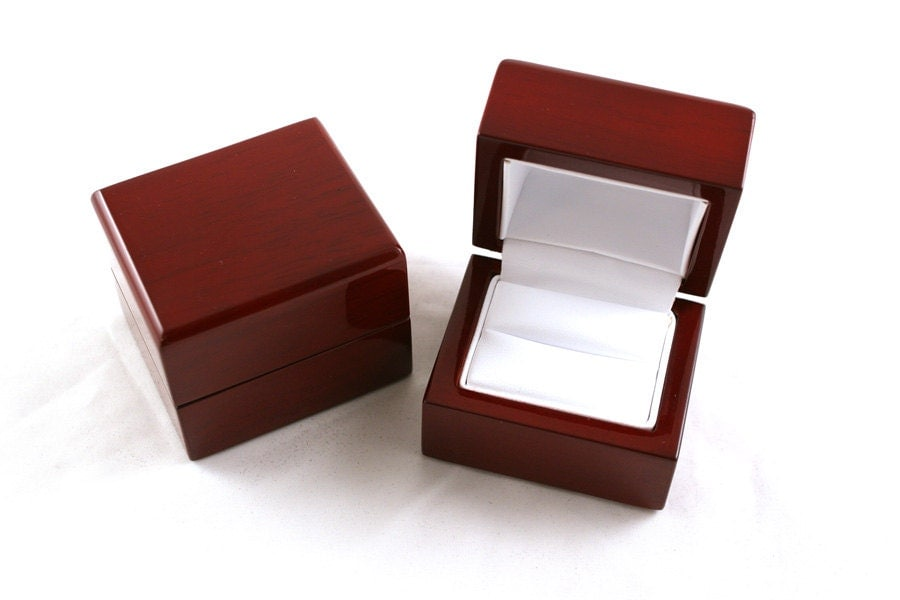 Mahogany cherry wood engagement ring box by for How to make a ring box out of wood