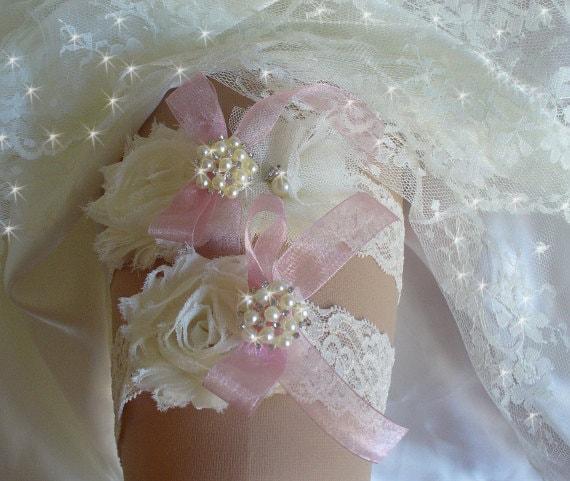 Personalized Wedding Garter Sets: Items Similar To Custom Made Lace Wedding Garter Set