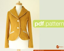 PDF sewing pattern. Women Shawl collar jacket -Luffa- (size 34-48)