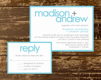 Modern Simple Wedding Invitation Suite - Wedding Invitation & RSVP