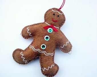Gingerbread Man, Felt Gingerbread Man Christmas Tree Ornament, Gingerbread Decoration