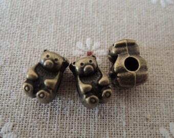 8pcs 13x9mm Antique Bronze bear bead with big hole ( A229)