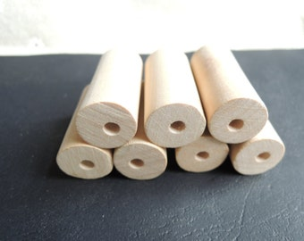 12Pcs 40X19mm unfinished wood cylinder no varnish   (W846)