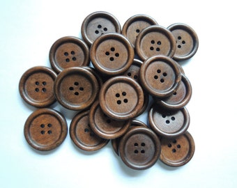 20Pcs 25mm Brown / Coffee Wood button 4holes  (W875)