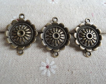 12pcs 28x21mm Antique Bronze flower connect charm( A328)