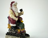 Santa On A Train Christmas Home Decor / Vintage Figurine - ArtVintagePlus
