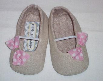 ZOEY baby girl shoes.  Tan. Pink Polka Dot