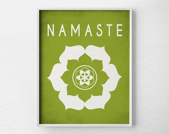 Namaste Lotus,Yoga Print, Yoga Studio Decor, Typography Poster, Wall Art, Inspirational Print, Yoga Poster, Motivational Art, 0162