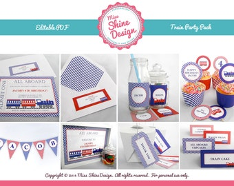 Train Party Pack - Editable Text PDF - INSTANT DOWNLOAD