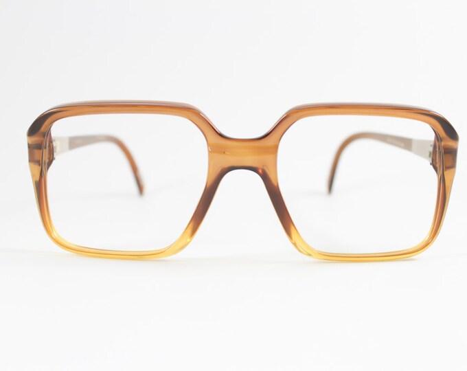 70s Vintage Glasses | Zeiss Optical Clear Brown and Amber Eyeglass Frame | NOS 1970s Square Eyeglasses | Vintage Deadstock Eyewear  - BR8
