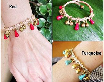 Bead stone Bracelet with brass beads, Adjustable Size, Wax String Bracelet Handmade Jewelry. (JB1050)