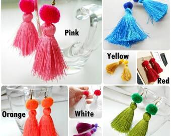 Pretty Fluff Cotton Tassel Silky Earrings with Pom Poms Handmade. (JE1045)