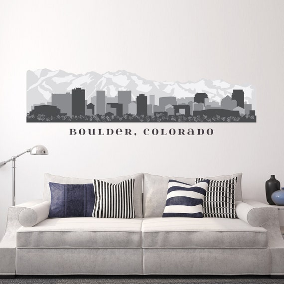 Boulder colorado skyline wall decal art printed vinyl sticker for Real estate office wall decor