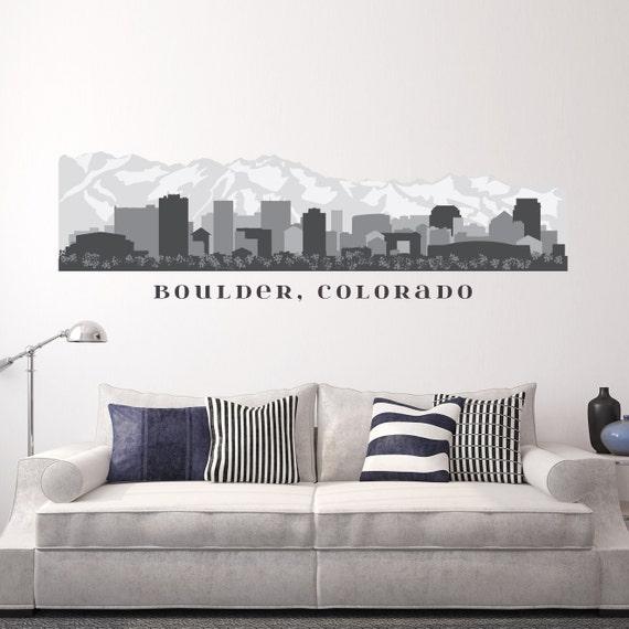 Boulder colorado skyline wall decal art printed vinyl sticker for Good look chicago skyline wall decal
