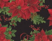 Christmas Fabric/Red Poinsettias on Black/Metallic Gold Trimmed Pattern/Holiday Sewing Material/Cotton/Fat Quarter, Half Yard or 1 Yard