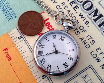 1 Retro Style Silver Pocket Watch Necklace Chain Included Vintage Style Timepiece Pocketwatch Classic Roman Numerals