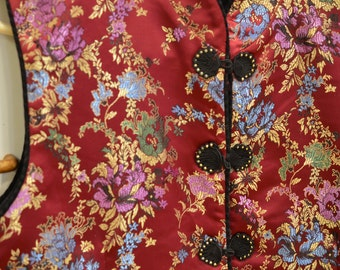 Vintage Red Chinese vest, beautiful embroidered flower design, neat buttons; Asian top