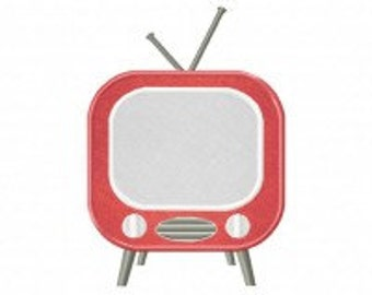 Red Retro TV Includes Both Applique and Stitched