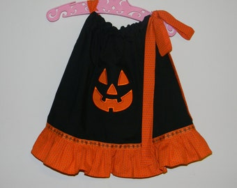 Toddler Pumpkin Face pillowcase dress made with soft cotton