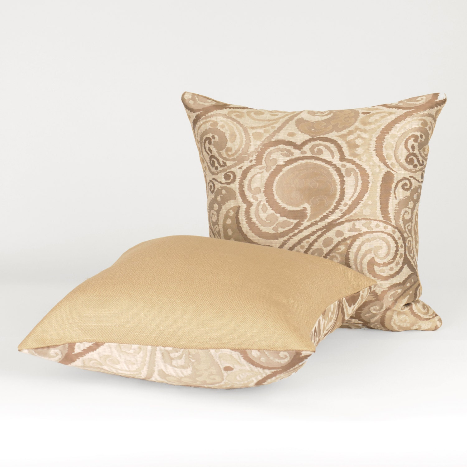 Shades of Taupe Square Throw Pillow with Insert 18 x by Fabrinique