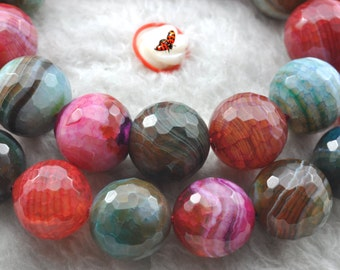 Banded Agate faceted round beads 12mm,32 pcs