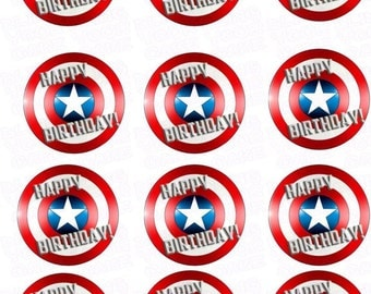 Marvel Captain America Happy Birthday Shield Inspired Edible Icing Cupcake Decor Toppers