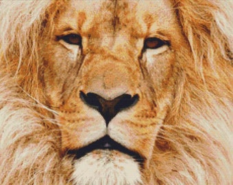 Lion Portrait PDF Cross Stitch Pattern