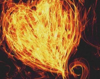 Flaming Heart PDF Cross Stitch Pattern