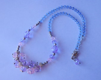 Lovely Tanzanite Necklace,Pink and Tanzanite Crystal Necklace,Violet necklace