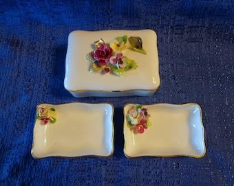 Vintage jewelry box trinket dish white purple red roses oragnizer storage keepsake Crown Staffordshire Bone China