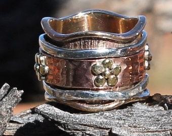 Spinner Ring, Meditation Ring , Spin ring , worry ring, Copper ring, mix metal ring, Bohemian ring, band ring RJRI023
