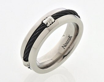 New NoamK PURE TITANIUM Hypoallergenic Unusual  Men Ring