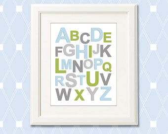 Baby boy alphabet nursery Art Print - 8x10 - Children wall art, kids Room Decor, baby boy room, owl, branch, aqua, grey, green - UNFRAMED